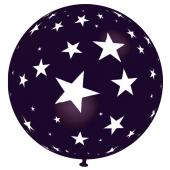 Riesen-Luftballon mit Sternen, schwarz, 75 cm