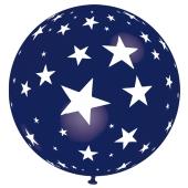 Riesen-Luftballon mit Sternen, violett, 75 cm