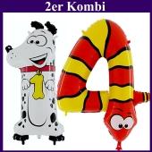 Riesenzahlen Luftballons aus Folie, Zahl 14, Dalmatiner und Schlange, zum 14. Kindergeburtstag