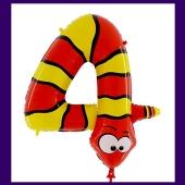 Riesenzahl Luftballon aus Folie, Zahl 4, Schlange, zum 4. Kindergeburtstag