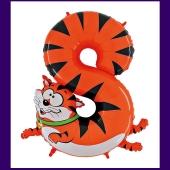 Riesenzahl Luftballon aus Folie, Zahl 8, Katze, zum 8. Kindergeburtstag