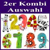 Riesenzahlen Luftballons aus Folie, Tiere, 2er Kombination mit Auswahl, zum Kindergeburtstag