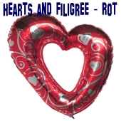 Riesiges Herz, Luftballon aus Folie, Hearts and Filigree, Rot