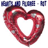 Großes Herz, Luftballon aus Folie, Hearts and Filigree