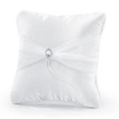 Ringkissen, Weiß mit glänzenden Dekosteinen und Organza