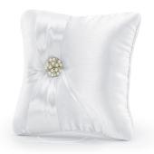 Ringkissen, Weiß mit Perlen, Dekosteinen und Satinband
