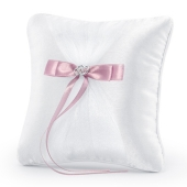 Ringkissen, Weiß mit Herzen und rosafarbener Schleife