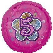 Luftballon aus Folie zum 5. Geburtstag, rosa Rundballon, Mädchen, Zahl 5, inklusive Ballongas