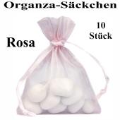 Organza-Beutel Rosa für Taufmandeln oder Hochzeitsmandeln