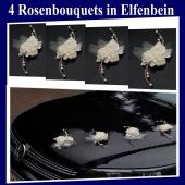 Rosen-Bouquets-in-Elfenbein-Hochzeitsdekoration-Hochzeitsauto