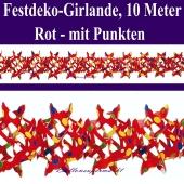 Rote Girlande mit bunten Punkten, 10 Meter, Festdekoration und Partydeko für Veranstaltungen