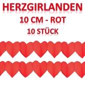Rote Herzgirlanden, 10 Stück, 3 Meter, 10 cm Durchmesser