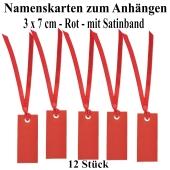 Tischkarten Rot mit Satinband, 12 Stück