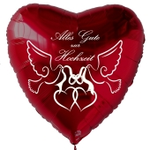 Roter Herzluftballon Alles Gute zur Hochzeit. Eheringe, Tauben und Herzen