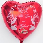 Hochzeitsballon, Luftballon zur Hochzeit, roter Herzballon mit Trauringen, Alles Gute zur Hochzeit
