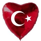 Türkische Flagge Luftballon aus Folie mit Helium-Ballongas, roter Herzballon