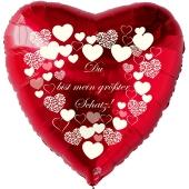 """Herzluftballon in Rot """"Du bist mein größter Schatz!"""" mit weißen Herzen"""