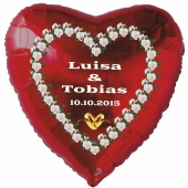 Luftballon zur Hochzeit, Herzballon aus Folie inklusive Helium mit den Namen von Braut und Bräutigam und Datum des Hochzeitstages, weiße Rosen-Herz