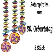 Deko-Hänger, Rotorspiralen, Zahl 80, Dekoration 80. Geburtstag
