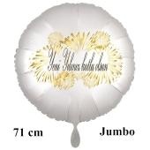 """Großer Rundluftballon in Satin Weiß, 71 cm """"Yeni Yiliniz kutlu olsun"""""""
