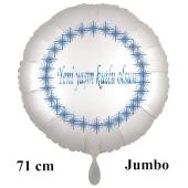 """Großer Rundluftballon in Satin Weiß, 71 cm """"Yeni yaşin kutlu olsun"""""""