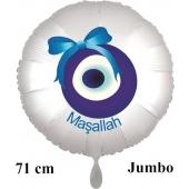 "Großer Rundluftballon in Satin Weiß, 71 cm ""Masallah"""