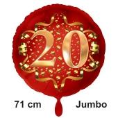 Großer Zahl 20 Luftballon aus Folie zum 20. Geburtstag, 71 cm, Rot/Gold, heliumgefüllt