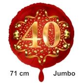 Großer Zahl 40 Luftballon aus Folie zum 40. Geburtstag, 71 cm, Rot/Gold, heliumgefüllt