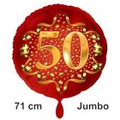 Großer Zahl 50 Luftballon aus Folie zum 50. Geburtstag, 71 cm, Rot/Gold, heliumgefüllt