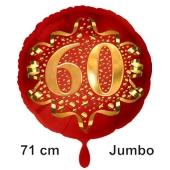 Großer Zahl 60 Luftballon aus Folie zum 60. Geburtstag, 71 cm, Rot/Gold, heliumgefüllt