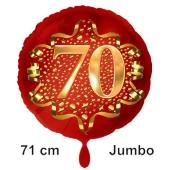Großer Zahl 70 Luftballon aus Folie zum 70. Geburtstag, 71 cm, Rot/Gold, heliumgefüllt