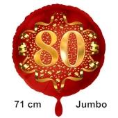 Großer Zahl 80 Luftballon aus Folie zum 80. Geburtstag, 71 cm, Rot/Gold, heliumgefüllt