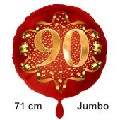 Großer Zahl 90 Luftballon aus Folie zum 90. Geburtstag, 71 cm, Rot/Gold, heliumgefüllt