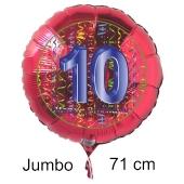 Großer Zahl 10 Luftballon aus Folie zum 10. Geburtstag, 71 cm, Rot/Blau, heliumgefüllt