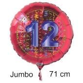 Großer Zahl 12 Luftballon aus Folie zum 12. Geburtstag, 71 cm, Rot/Blau, heliumgefüllt