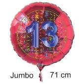 Großer Zahl 13 Luftballon aus Folie zum 13. Geburtstag, 71 cm, Rot/Blau, heliumgefüllt