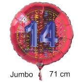 Großer Zahl 14 Luftballon aus Folie zum 14. Geburtstag, 71 cm, Rot/Blau, heliumgefüllt