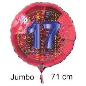 Großer Zahl 17 Luftballon aus Folie zum 17. Geburtstag, 71 cm, Rot/Blau, heliumgefüllt