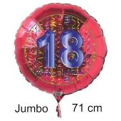 Großer Zahl 18 Luftballon aus Folie zum 18. Geburtstag, 71 cm, Rot/Blau, heliumgefüllt
