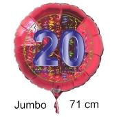Großer Zahl 20 Luftballon aus Folie zum 20. Geburtstag, 71 cm, Rot/Blau, heliumgefüllt
