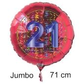 Großer Zahl 21 Luftballon aus Folie zum 21. Geburtstag, 71 cm, Rot/Blau, heliumgefüllt