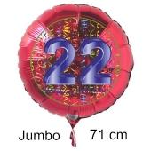 Großer Zahl 22 Luftballon aus Folie zum 22. Geburtstag, 71 cm, Rot/Blau, heliumgefüllt
