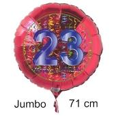Großer Zahl 23 Luftballon aus Folie zum 23. Geburtstag, 71 cm, Rot/Blau, heliumgefüllt