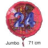 Großer Zahl 24 Luftballon aus Folie zum 24. Geburtstag, 71 cm, Rot/Blau, heliumgefüllt