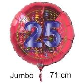 Großer Zahl 25 Luftballon aus Folie zum 25. Geburtstag, 71 cm, Rot/Blau, heliumgefüllt