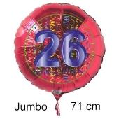 Großer Zahl 26 Luftballon aus Folie zum 26. Geburtstag, 71 cm, Rot/Blau, heliumgefüllt