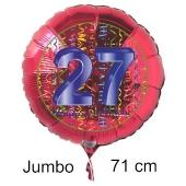 Großer Zahl 27 Luftballon aus Folie zum 27. Geburtstag, 71 cm, Rot/Blau, heliumgefüllt