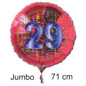 Großer Zahl 28 Luftballon aus Folie zum 28. Geburtstag, 71 cm, Rot/Blau, heliumgefüllt