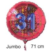 Großer Zahl 31 Luftballon aus Folie zum 31. Geburtstag, 71 cm, Rot/Blau, heliumgefüllt