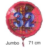 Großer Zahl 32 Luftballon aus Folie zum 32. Geburtstag, 71 cm, Rot/Blau, heliumgefüllt